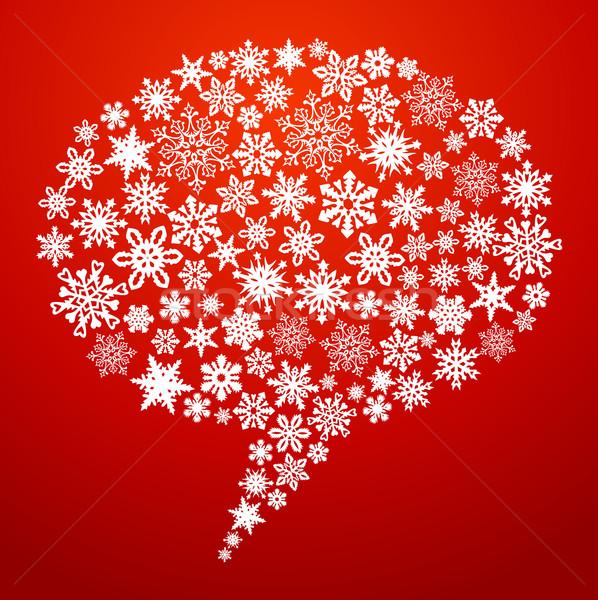 Christmas social media tekstballon sneeuwvlokken netwerken Stockfoto © cienpies