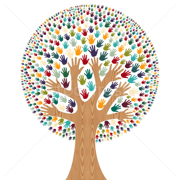 Stock photo: Isolated Diversity Tree hands