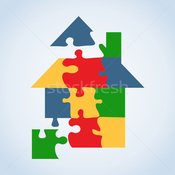 Real estate icon set jigaw shape Stock photo © cienpies