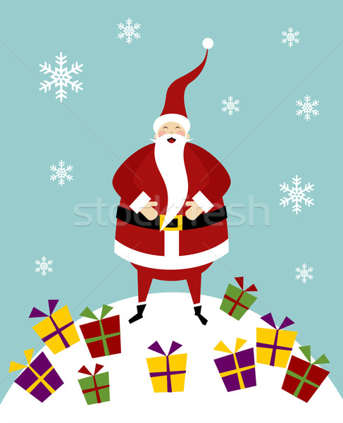 Christmas serie: Happy Santa Claus on a snow mountain with lot o Stock photo © cienpies