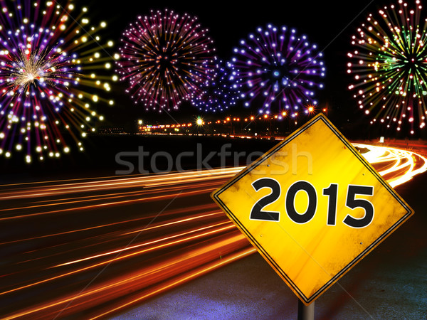 Photo stock: Happy · new · year · 2015 · feux · d'artifice · ville · voitures · autoroute