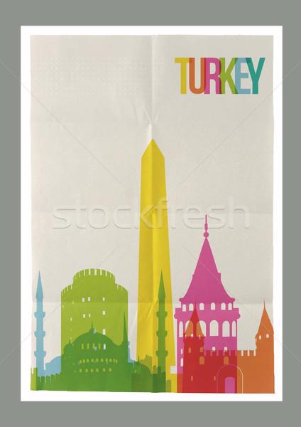 旅行 トルコ ヴィンテージ 紙 ポスター 有名な ストックフォト © cienpies