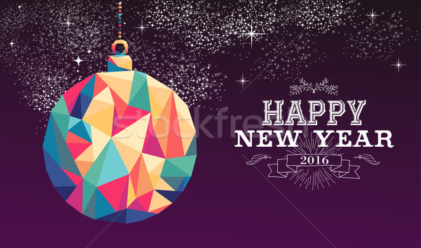 Happy new year 2016 bauble triangle hipster color Stock photo © cienpies