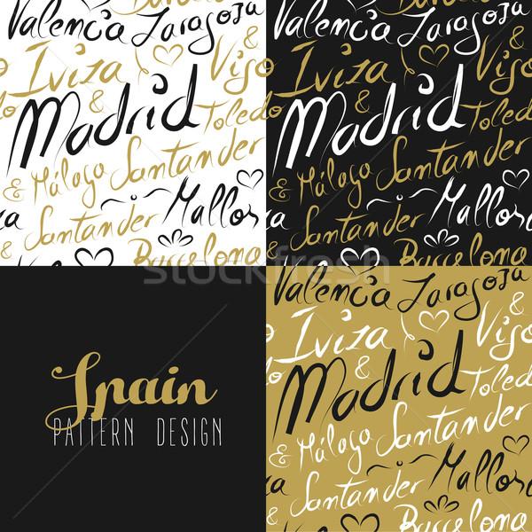 Travel spain europe seamless pattern gold madrid Stock photo © cienpies