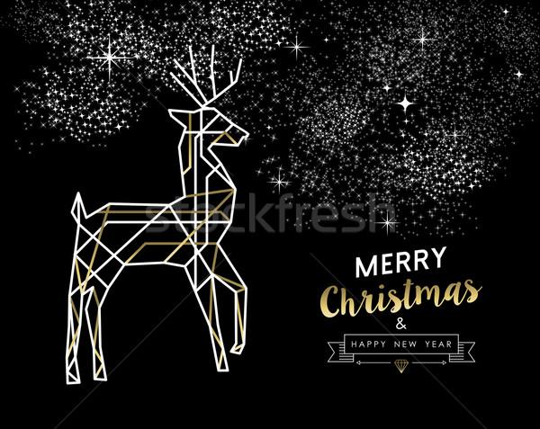 Stok fotoğraf: Neşeli · Noel · yılbaşı · geyik · altın
