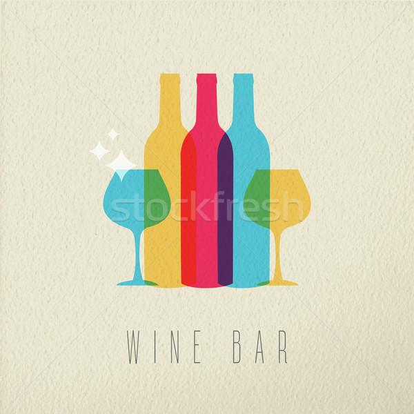 Wine bar restaurant icon concept color design Stock photo © cienpies
