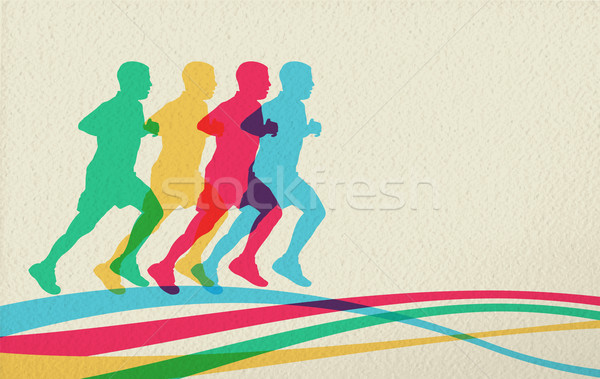 Running people silhouette concept background Stock photo © cienpies