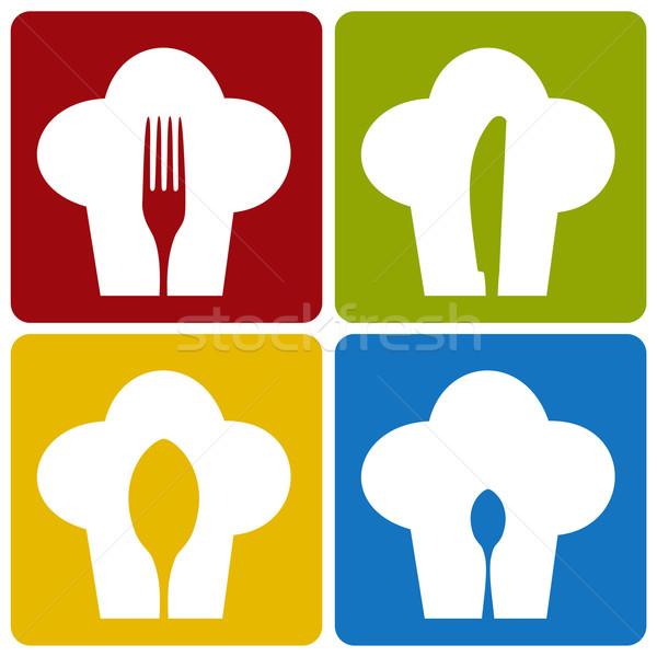Ikon szakács étterem szett minta ikonok Stock fotó © cienpies