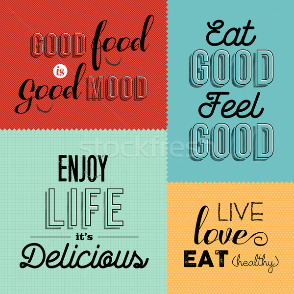 Retro food quote designs set of colorful labels Stock photo © cienpies