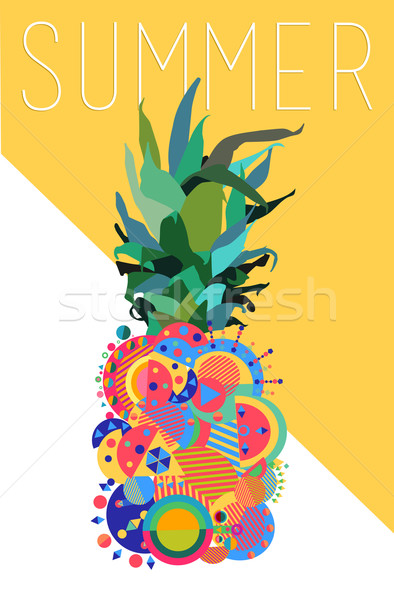 Colorato estate ananas geometrica moderno design Foto d'archivio © cienpies