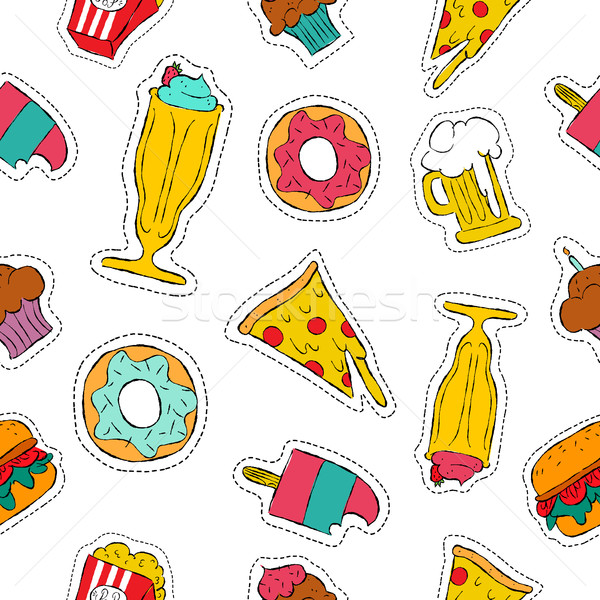 90s retro fast food patch icon seamless pattern Stock photo © cienpies