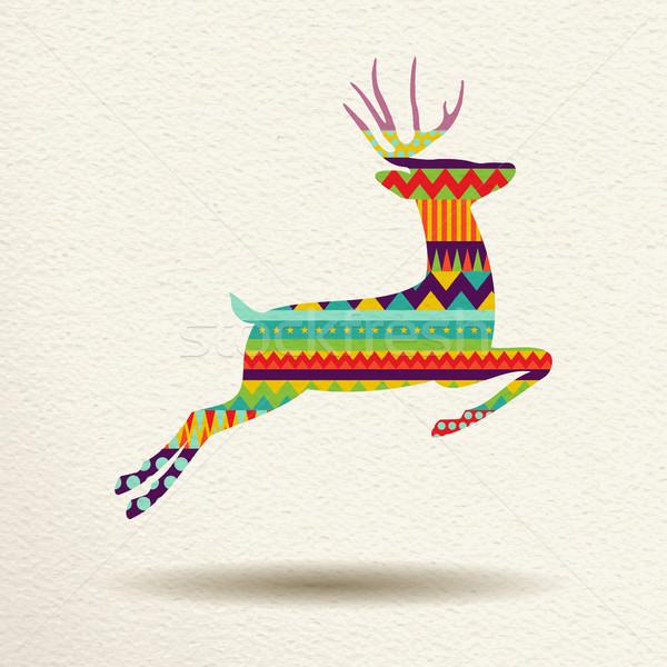 Noel ren geyiği eğlence geometrik sanat stil Stok fotoğraf © cienpies