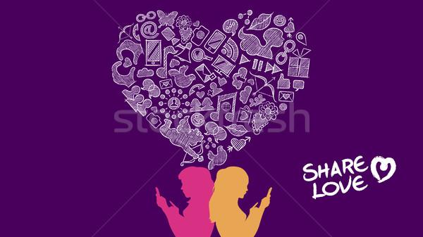 Amore lesbiche design internet illustrazione Foto d'archivio © cienpies