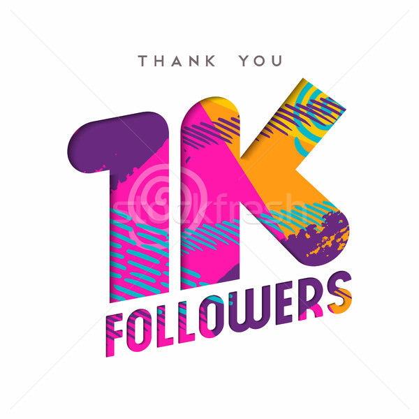 1k social media follower number thank you template Stock photo © cienpies