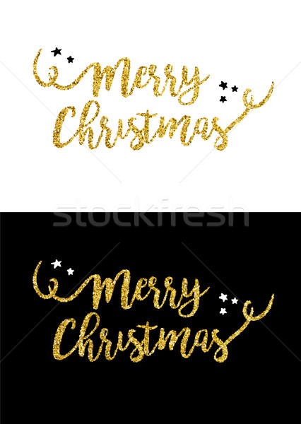 Merry Christmas gold glitter quote greeting card Stock photo © cienpies