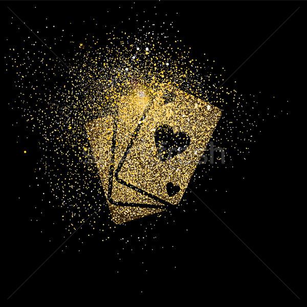 Játszik kártya arany csillámlás művészet illusztráció Stock fotó © cienpies