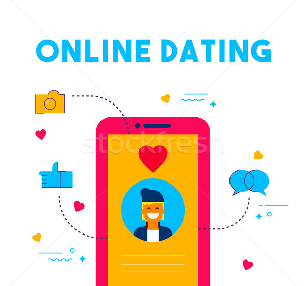Online dating social media date app concept design Stock photo © cienpies