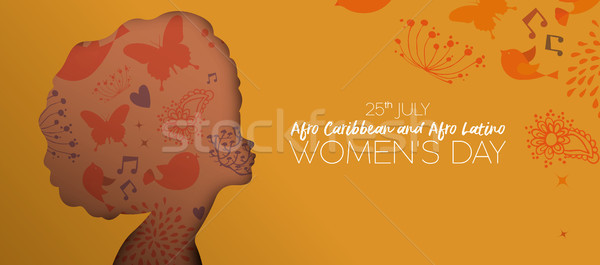 Afro Caribbean and Latino women day cutout banner Stock photo © cienpies