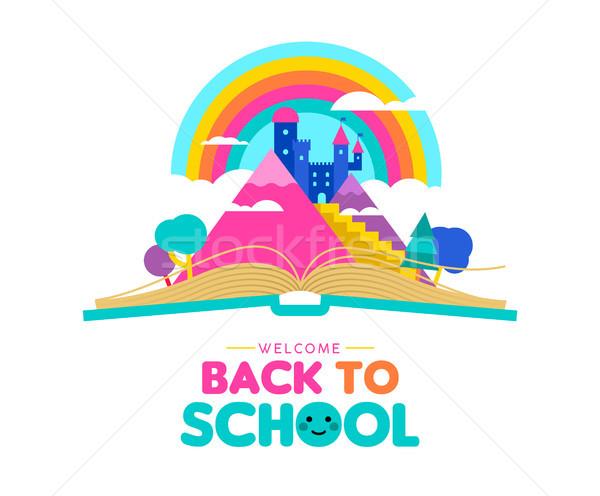 Terug naar school boek kid verbeelding illustratie Open boek Stockfoto © cienpies