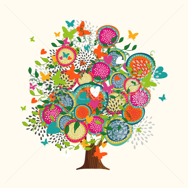 Spring tree concept made of hand drawn flowers Stock photo © cienpies