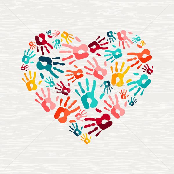 Human hand print heart shape love concept Stock photo © cienpies