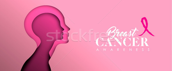 Breast Cancer Awareness cutout woman face banner Stock photo © cienpies
