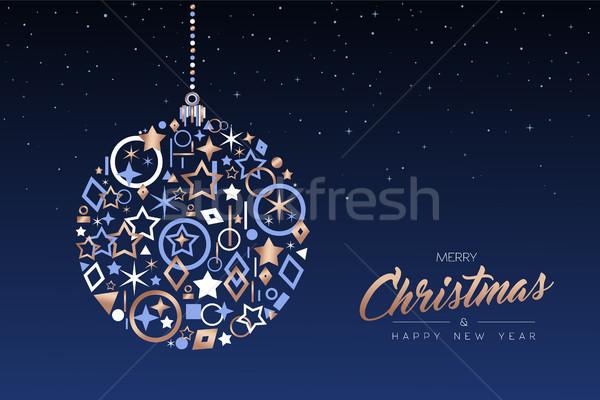 Christmas nowy rok piłka miedź ikona wesoły Zdjęcia stock © cienpies