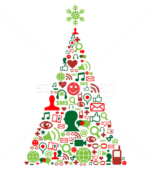 Kerstboom social media iconen vorm partij Stockfoto © cienpies