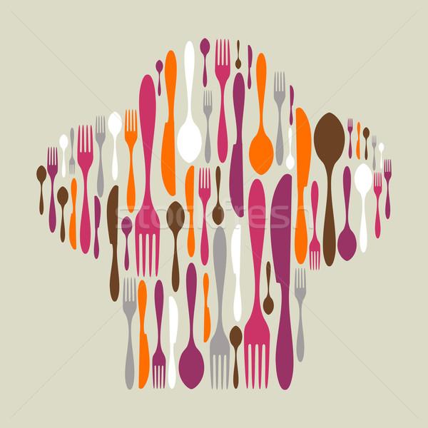 Evőeszköz ikon gyűjtemény szakács sapka forma ikonok tarka Stock fotó © cienpies