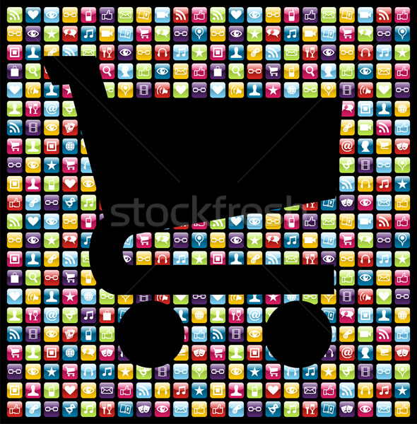 Smartphone app icon set business background Stock photo © cienpies