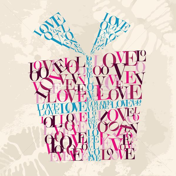 San valentino amore testo scatola regalo giorno grunge Foto d'archivio © cienpies