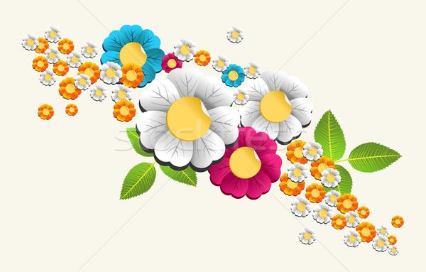 Stock fotó: Színes · csobbanás · virág · tavaszi · virág · réteges · könnyű
