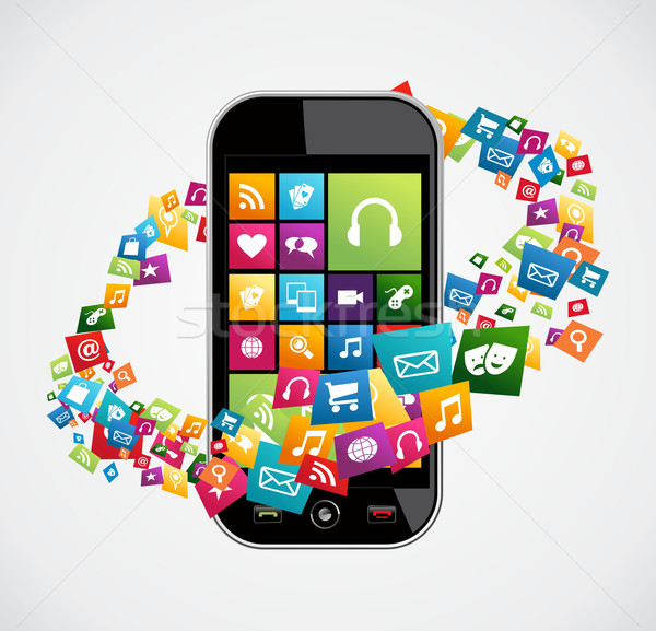 Smartphone mobile applications Stock photo © cienpies