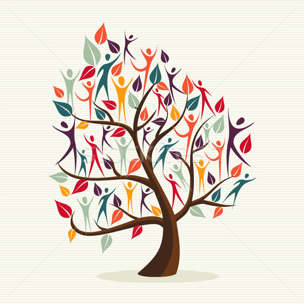 Stock photo: Diversity human leaves tree set