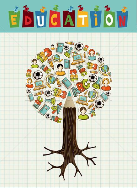Foto stock: Educação · ícones · lápis · árvore · de · volta · à · escola · global