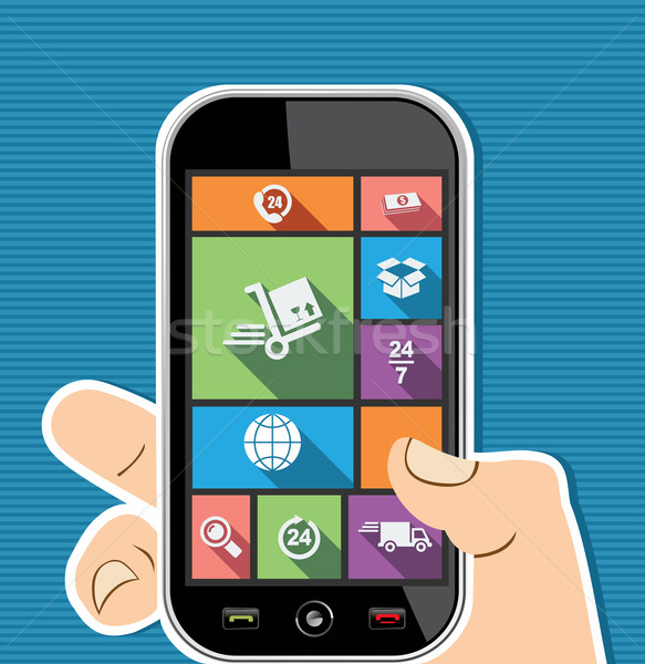 Stock photo: Human hand mobile colorful shipping UI apps flat icons.