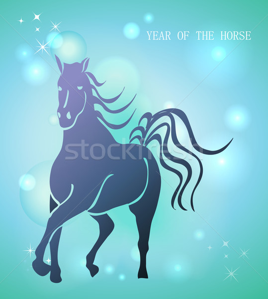 Happy Chinese New Year of horse 2014 postcard Stock photo © cienpies