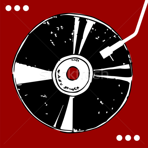 Vinyl disc on red background.  Stock photo © cienpies