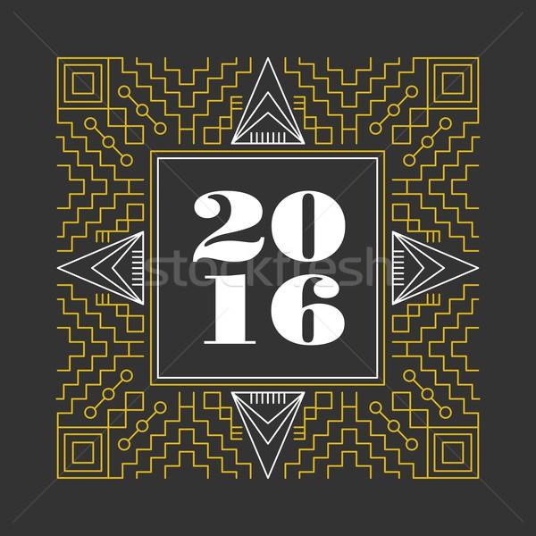 Ano novo 2016 retro linha monograma vintage Foto stock © cienpies