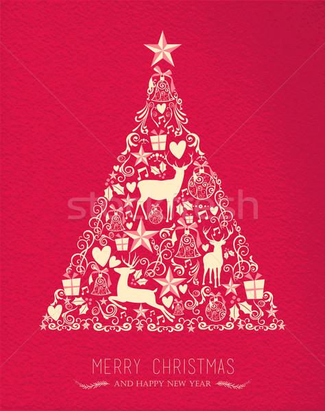 Allegro Natale buon anno pino cervo carta Foto d'archivio © cienpies