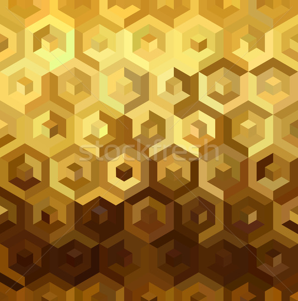 Gold isometric 3d cube seamless pattern low poly Stock photo © cienpies