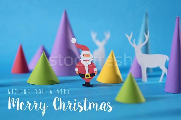 Vrolijk christmas handgemaakt papier gesneden Stockfoto © cienpies