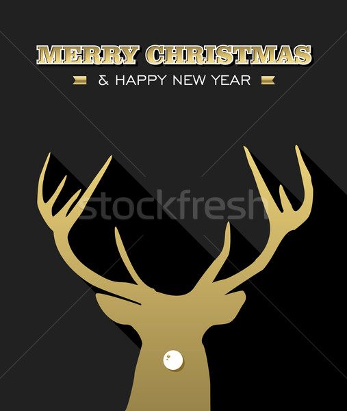 Merry Christmas New Year reindeer silhouette gold Stock photo © cienpies