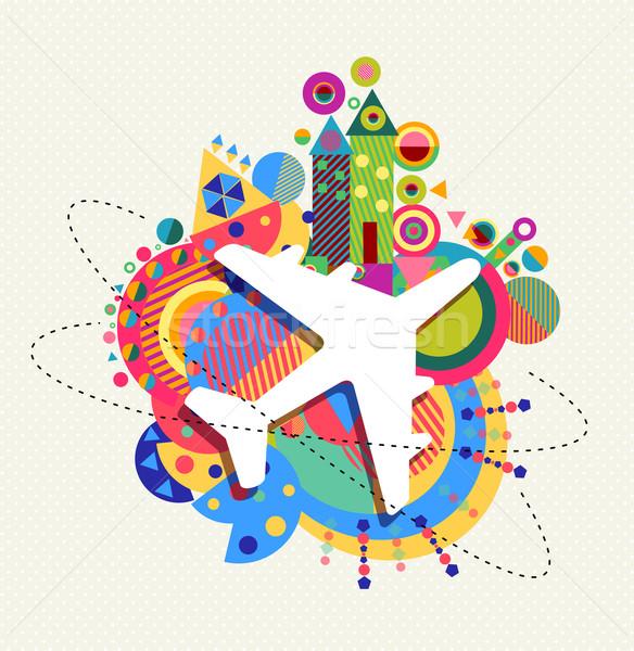 Levegő repülőgép utazás ikon szín formák Stock fotó © cienpies