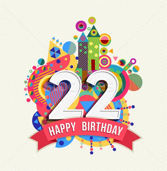 Urodziny 22 rok kartkę z życzeniami plakat kolor Zdjęcia stock © cienpies