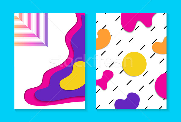 Abstract memphis colorful card background set  Stock photo © cienpies