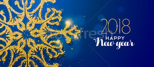 Happy new year or glitter flocon de neige carte un message Photo stock © cienpies