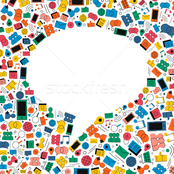 Social media chatten bubble icon ontwerp online communicatie Stockfoto © cienpies