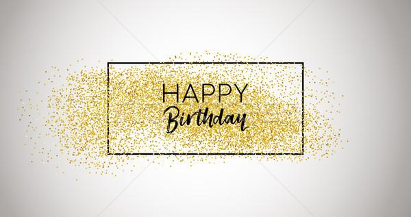 Feliz cumpleaños oro brillo tipografía tarjeta celebración Foto stock © cienpies