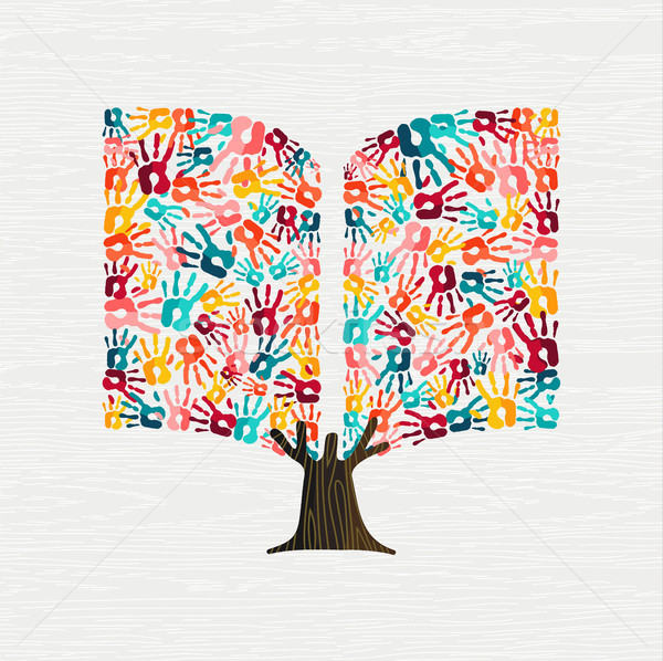 Hand tree concept in book shape for education Stock photo © cienpies